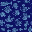 Seamless pattern with sea creatures — Stock Vector #63183969