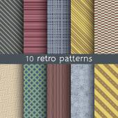 10 retro vector seamless patterns. Textures for wallpaper, fills, web page background. Set of geometric ornaments. — Stock Vector