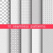 10 Light grey seamless patterns for universal background. Grey and white colors. Endless texture can be used for wallpaper, pattern fill, web page background.  Vector illustration for web design. — Vector de stock