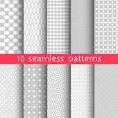 10 Light grey seamless patterns for universal background. Grey and white colors. Endless texture can be used for wallpaper, pattern fill, web page background.  Vector illustration for web design. — ストックベクタ