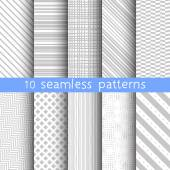 10 striped grey vector seamless patterns. Vector illustration for web design. Endless texture can be used for wallpaper, pattern fill, web page background. — Stock Vector