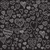 Love hearts seamless pattern. Doodle heart. Romantic background. Valentines day background for invitation. — Stock Vector