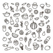 Set of 55 icons on the theme of food, different dishes and cuisines — Wektor stockowy