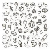 Set of 55 icons on the theme of food, different dishes and cuisines — Vettoriale Stock