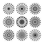 Set Of 9 Vector Circle Ornaments For Design. Decorative Stamp patterns. — Stock Vector