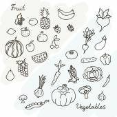 Vector illustration of fruits and vegetables collection in black and white — Stock Vector