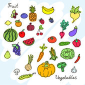 Collection of various fruits and vegetables. EPS 10 — Stock Vector