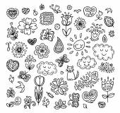 Spring doodles set. Hand draw flowers, sun, clouds, butterflies. Season of the blossom, illustration, cute background. — Stock Vector