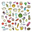 Set of 55 icons on the theme of food, different dishes and cuisines — Stock Vector #67378273