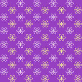 Seamless pattern. Fond purple and yellow colors. Endless texture can be used for printing onto fabric and paper or invitation. Simple flower shape. — Stock Vector