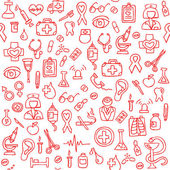 Hand drawn medical seamless pattern. Vector Illustration — Stock Vector