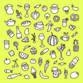 Set of 55 icons on the theme of food, different dishes and cuisines — Stock Vector