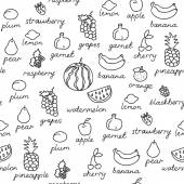 Fruit doodles seamless vector pattern. — Vetor de Stock
