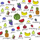 Fruit doodles seamless vector pattern. — Stock Vector