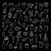 Set of 60 icons of different types of cookware. Hand drawn vector. — Stock Vector
