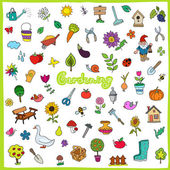 Set of hand drawn gardening icons — Stock Vector