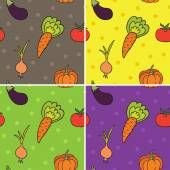 Four pattern with vegetables — Stock Vector
