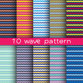 10 wave seamless patterns for universal background. Endless texture can be used for wallpaper, pattern fill, web page background. Vector illustration for web design. — Wektor stockowy