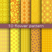 10 different flower vector patterns. Endless texture for wallpaper, fill, web page background, surface texture. — Stock Vector