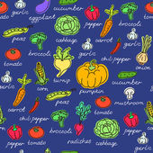 Vector pattern of seamless background with vegetables. Vector hand drawn doodle background. — Stock Vector