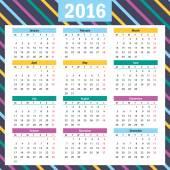単純なヨーロッパ 2016 年ベクトル カレンダー — ストックベクタ