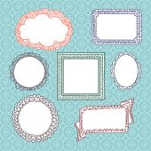 Curly frames and ornaments doodles — Vector de stock