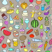 Seamless pattern with food. Hand drawn vector. Good for backgrounds, fabric, kitchen and cafe stuff. — Stock Vector