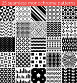25 seamless monochrome pattern. Vector seamless pattern. Endless texture can be used for printing onto fabric, paper or scrap booking, wallpaper, pattern fills, web page background, surface texture. — Stock Vector