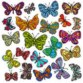 Vector set of butterflies. Hand-drawn ornate butterflies isolated on white background. — Stock Vector