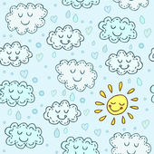 Blue seamless pattern with cute clouds and sun. Childrens shiny background. Endless texture can be used for wallpaper, pattern fills, web page background, surface texture. — Stock Vector