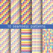 10 seamless patterns for universal background. — Stock Vector