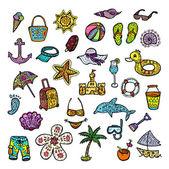 Set of beach icons. — Stock Vector
