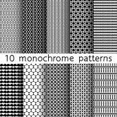 10 monochrome seamless patterns for universal background. Black and white colors. Endless texture can be used for wallpaper, pattern fill, web page background. Vector illustration for web design. — Vector de stock