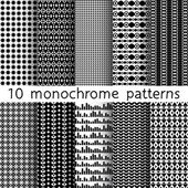 10 monochrome seamless patterns for universal background. Black and white colors. Endless texture can be used for wallpaper, pattern fill, web page background. Vector illustration for web design. — Stock Vector