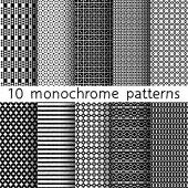 10 monochrome seamless patterns for universal background. Black and white colors. Endless texture can be used for wallpaper, pattern fill, web page background. Vector illustration for web design. — Stok Vektör