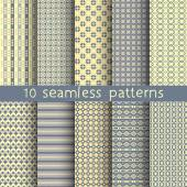 10 seamless patterns for universal background. Endless texture can be used for wallpaper, pattern fill, web page background. Vector illustration for web design. — Stok Vektör