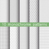 10 monochrome seamless patterns for universal background. Gray and white colors. Endless texture can be used for wallpaper, pattern fill, web page background. Vector illustration for web design. — Wektor stockowy