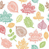 Doodle textured leaves seamless pattern — Stock Vector