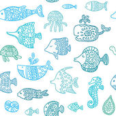 Seamless pattern with sea creatures — Stock Vector