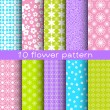 10 different flower vector seamless patterns. — Stock Vector #75968569