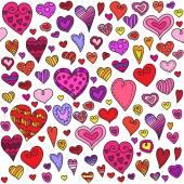 Love hearts seamless pattern. Doodle heart. Romantic background. Vector illustration — Stock Vector