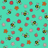 Seamless bees and flowers pattern — Stock Vector
