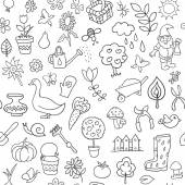 Seamless pattern of gardening objects — Stock Vector
