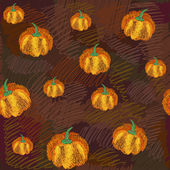 Vector seamless pattern with pumpkins — Stock Vector