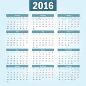 Calendario vettoriale semplice anno europeo 2016 — Vettoriale Stock