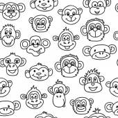 Seamless pattern with cute faces of monkeys. Kids background. — Stock Vector