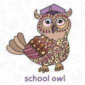 Owl in Graduate Hat. Back to School. Seamless vector pattern. — Stock Vector