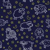 Seamless pattern with sheep in night — Stock Vector