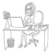 Business woman works behind the computer — Stock Vector