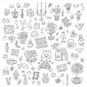 Home sweet home. Set of hand drawn vector home interior doodles. Black and white colors. — Stock Vector